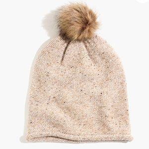 NWT Madewell Faux-Fur Pom-Pom Beanie Ashen Sand